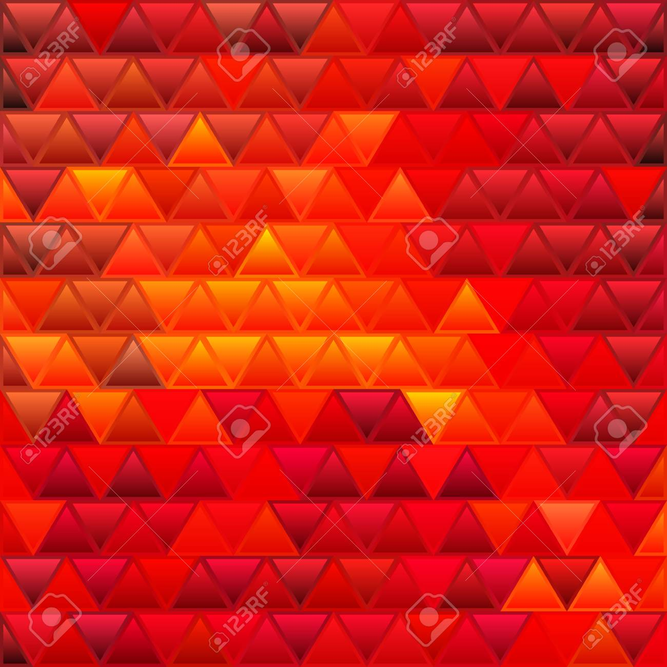 Abstract Vector Stained Glass Triangle Mosaic Background Red