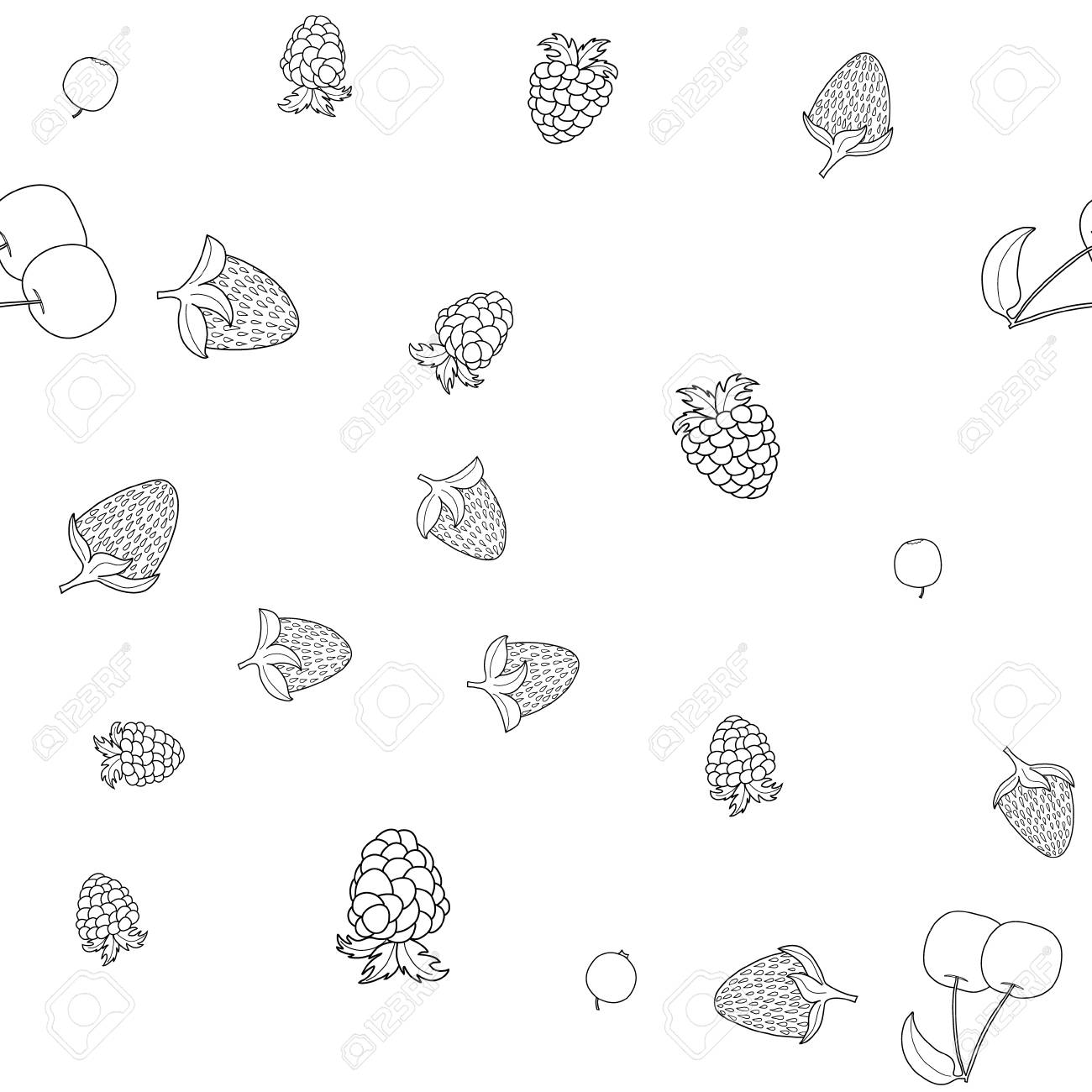 abstract vector doodle berry seamless pattern - 104459577