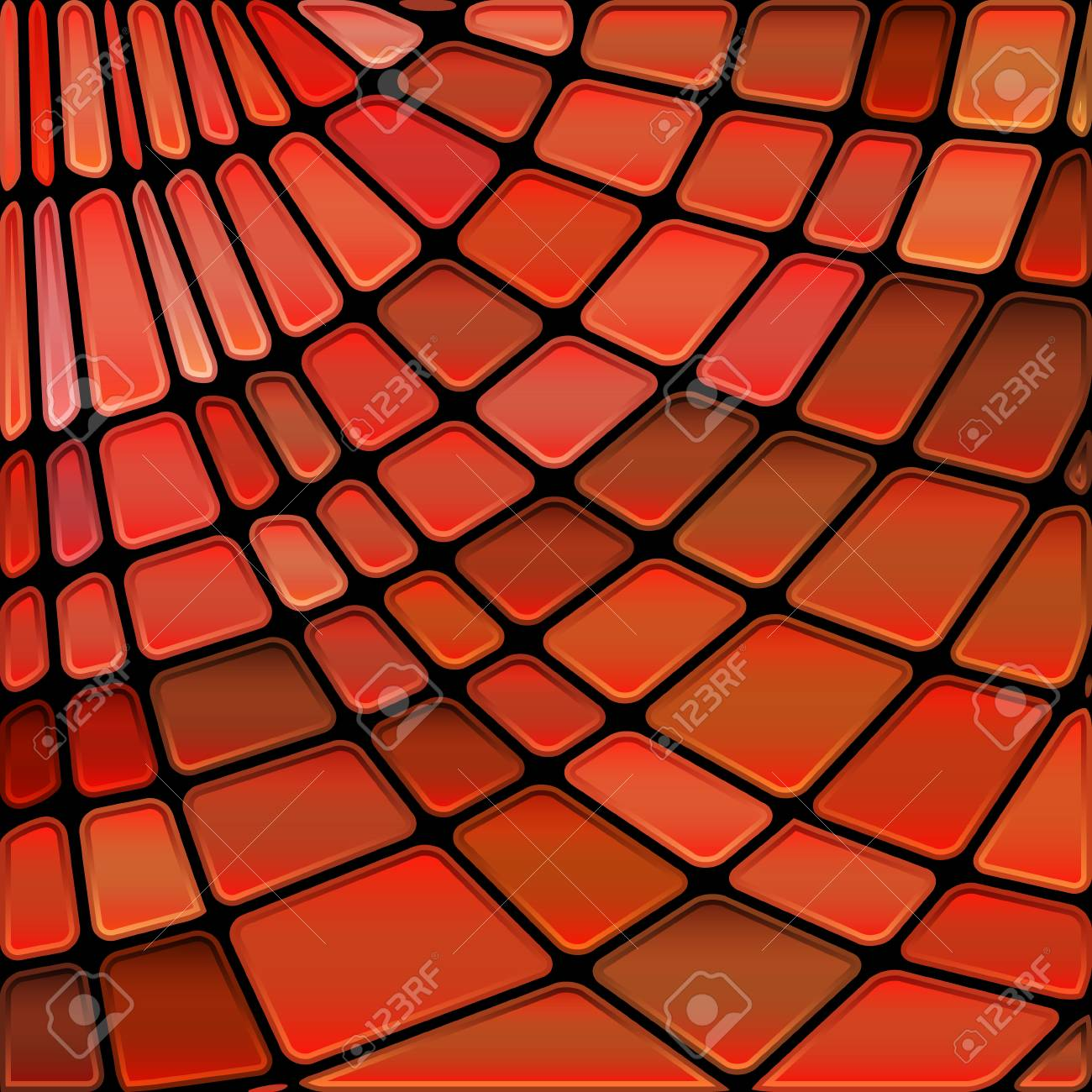 Abstract Vector Stained Glass Mosaic Background Red And Brown