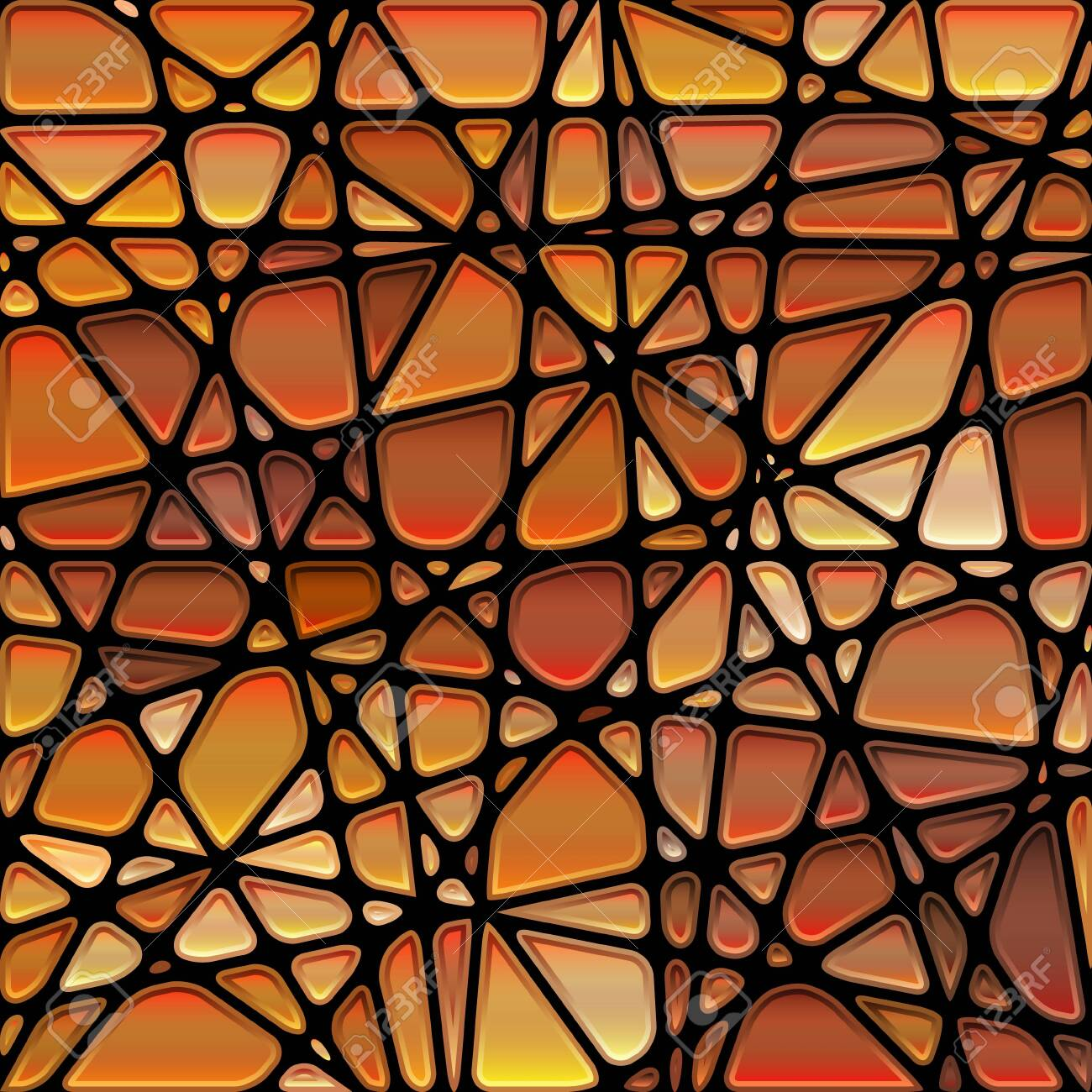 abstract vector stained-glass mosaic background - orange and brown - 123063225