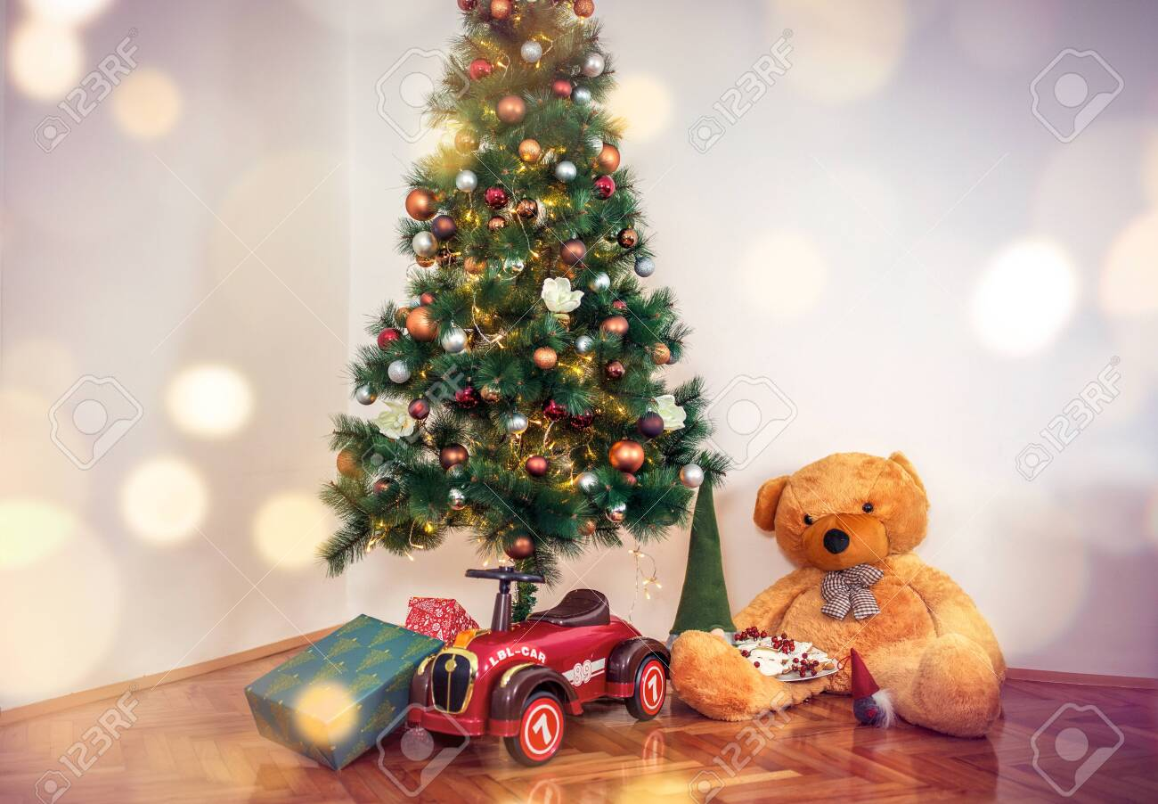 gift boxes and toy.Christmas Tree with Decorations and gift. Christma - 134962268