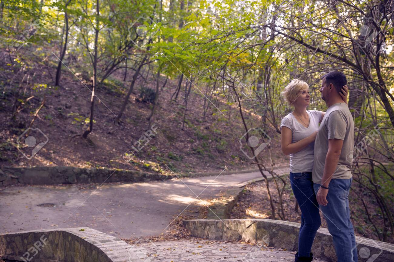 Young romantic couple in love with in the forest. Love, dating, romance. - 134962672