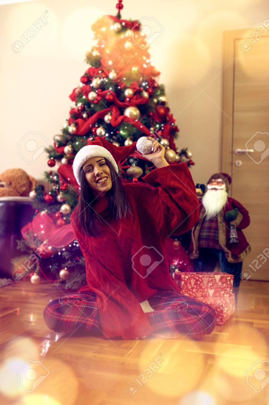 christmas and holidays concept -Funny Woman celebrating Christmas - 134962487