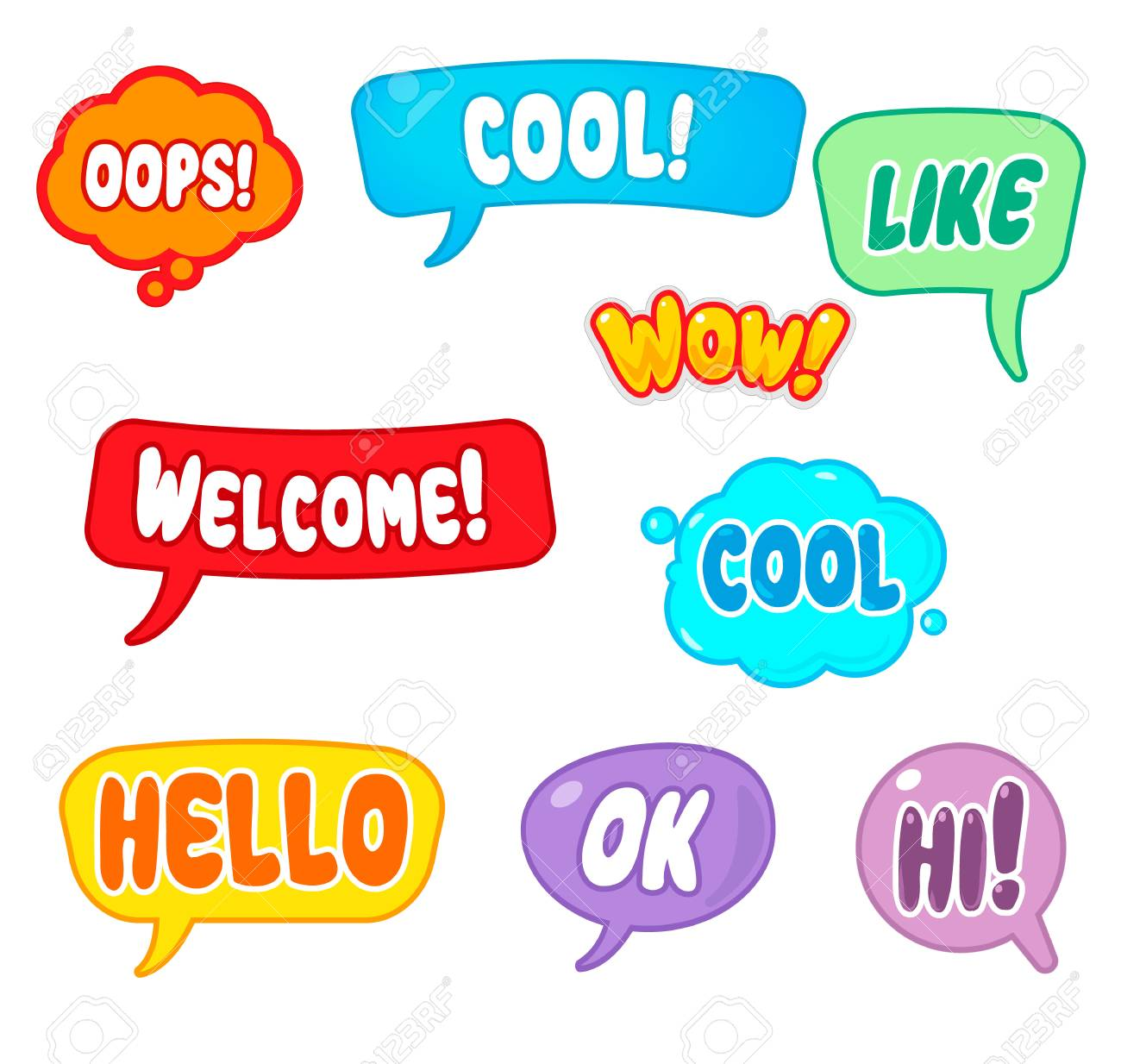 Set of designer stickers mobile messages chats web design stock photo 105956167