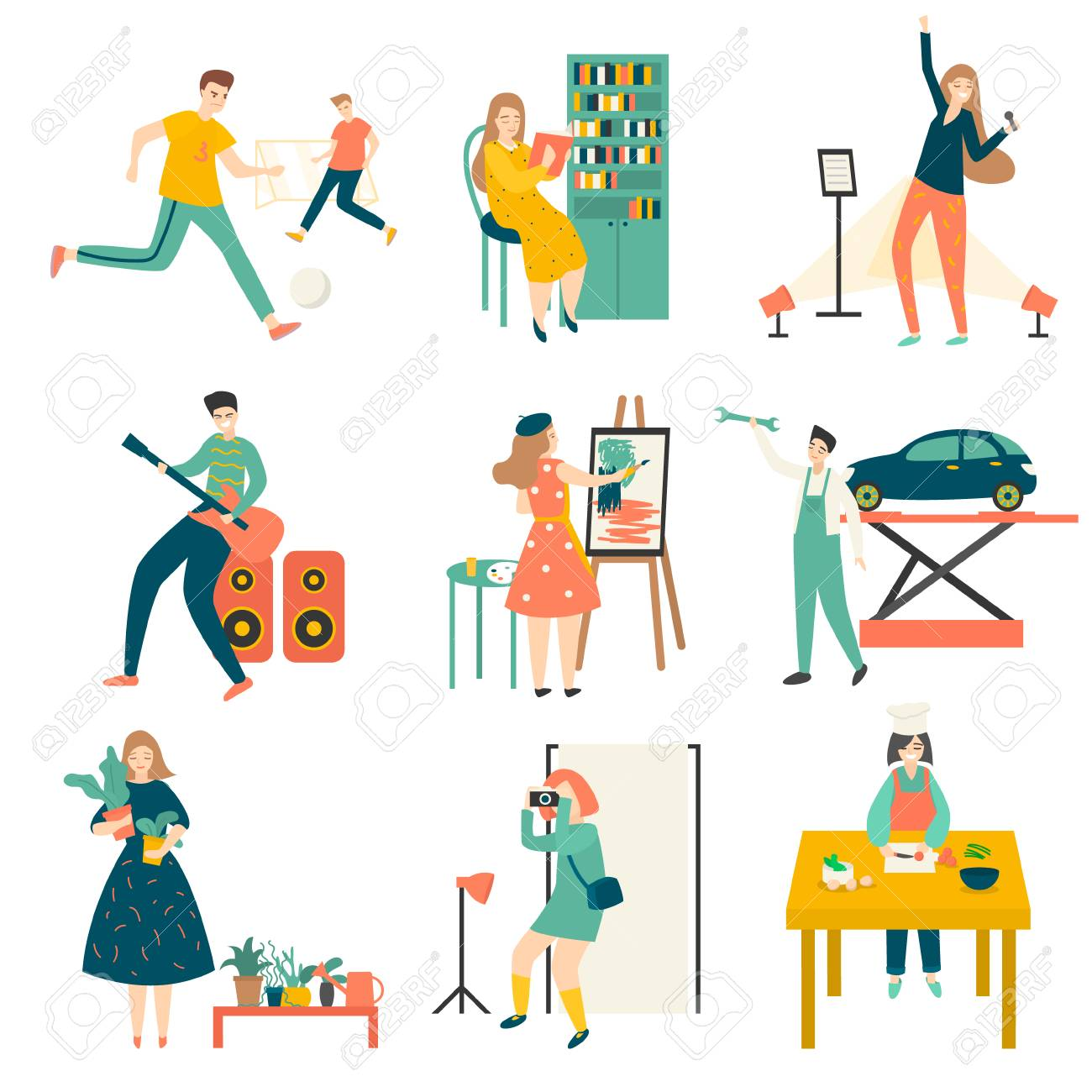 In their free time, people practice their favorite hobbies, play football, plant flowers, cook, repair cars, play musical instruments, draw, go to the gym, play computer games, and more. Illustration isolated on white background - 127522965