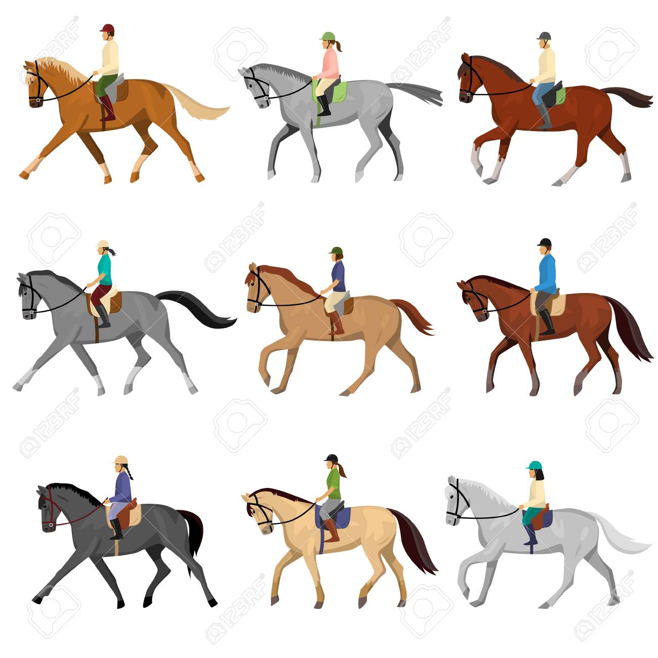 Man and woman in sportswear and helmet riding horse isolated against white background. Riding lesson, sport, hobby. Equestrian sport training, jockey horseback ride - 118610505