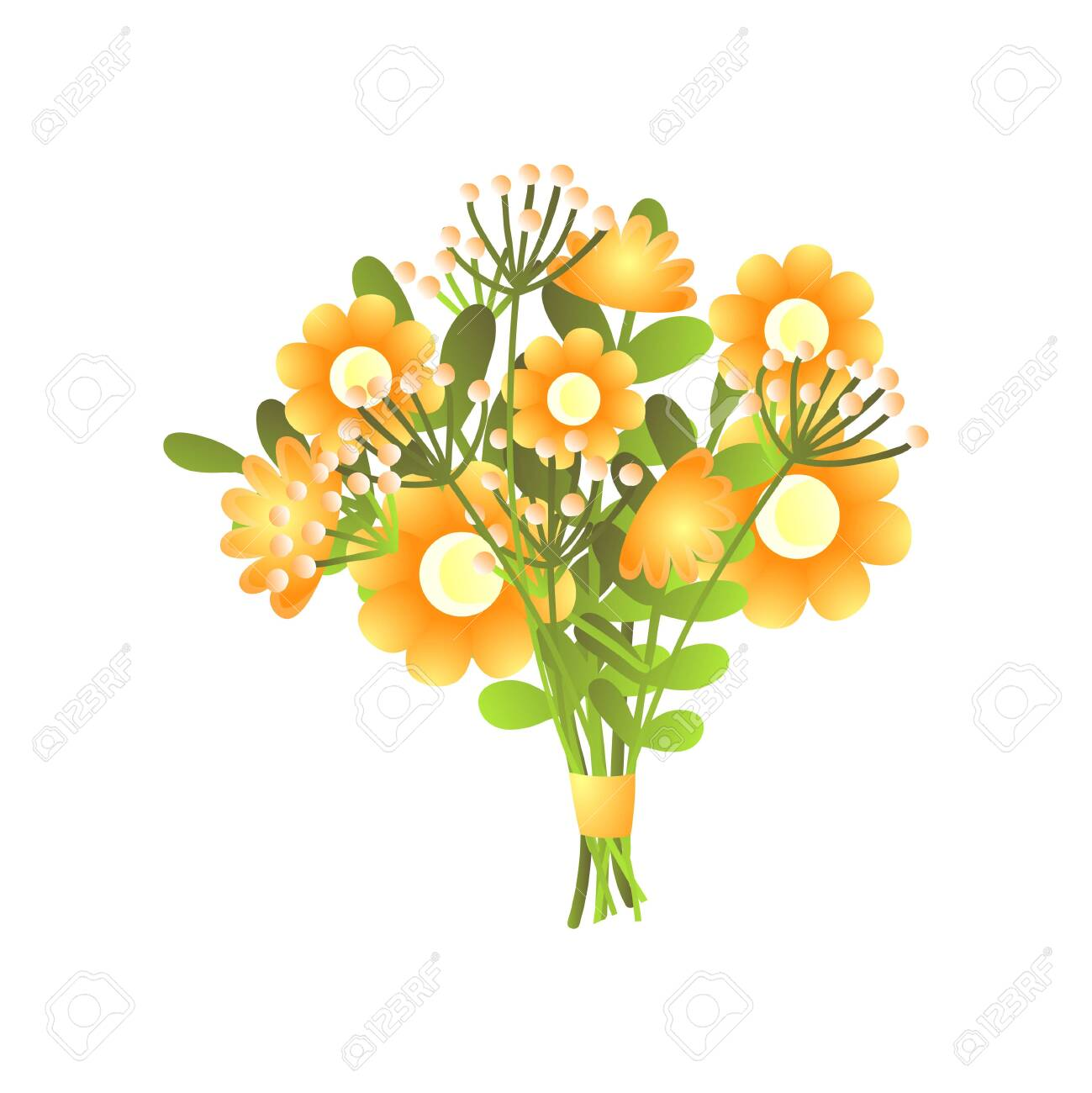 Colorful fresh yellow bloomy flowers bouquet with ribbon isolated