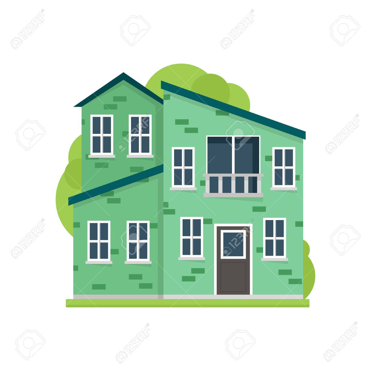 Green paint residential house in modern safe village - 121021203
