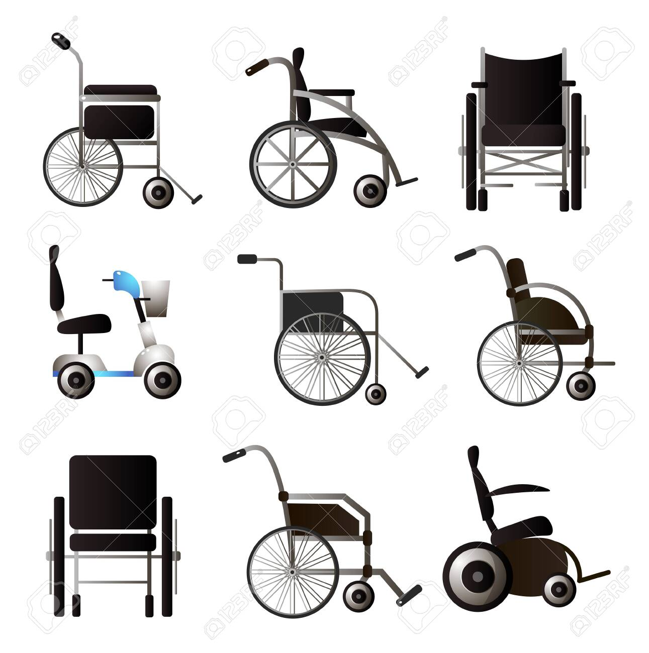 Set Of Modern Wheel Chair Different Type And Model For Home Or Royalty Free Cliparts Vectors And Stock Illustration Image 123511521