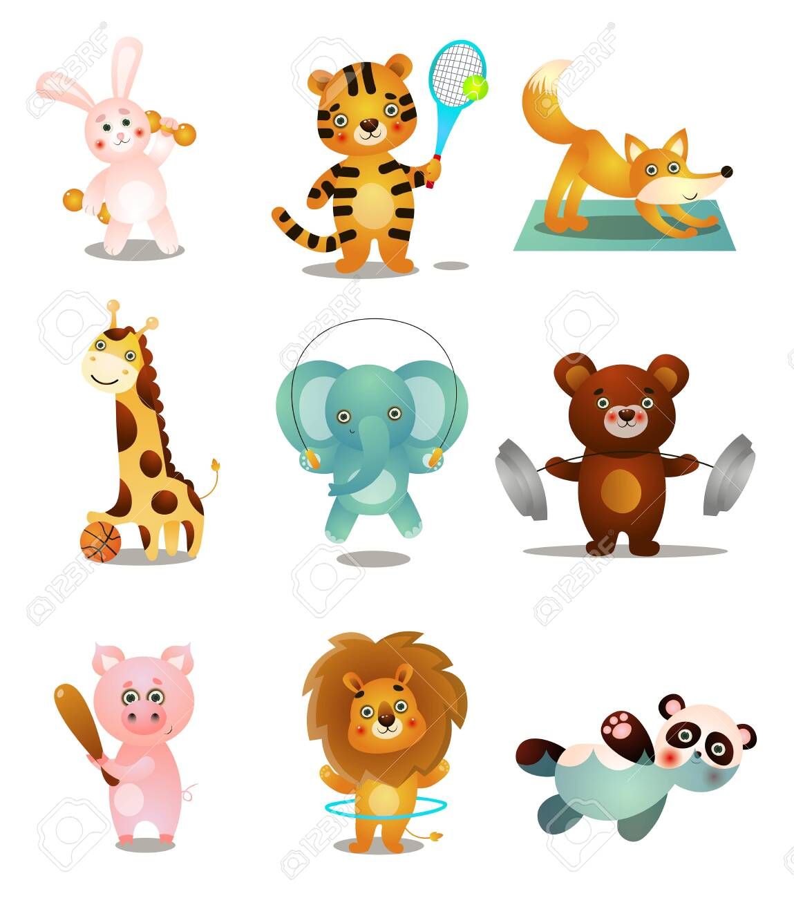 Set of cute colorful playing animals, in different sport outdoor activities. Cartoon style. Vector illustration on white background - 122784910