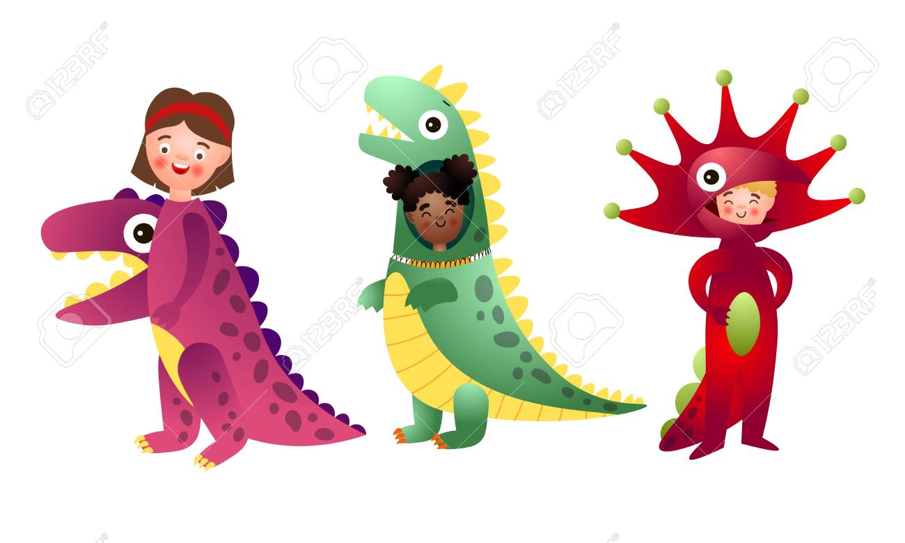 Collection set of funny happy smiling boys and girls in colorful dinosaur costumes. Isolated icons set illustration on a white background in cartoon style. - 138859953