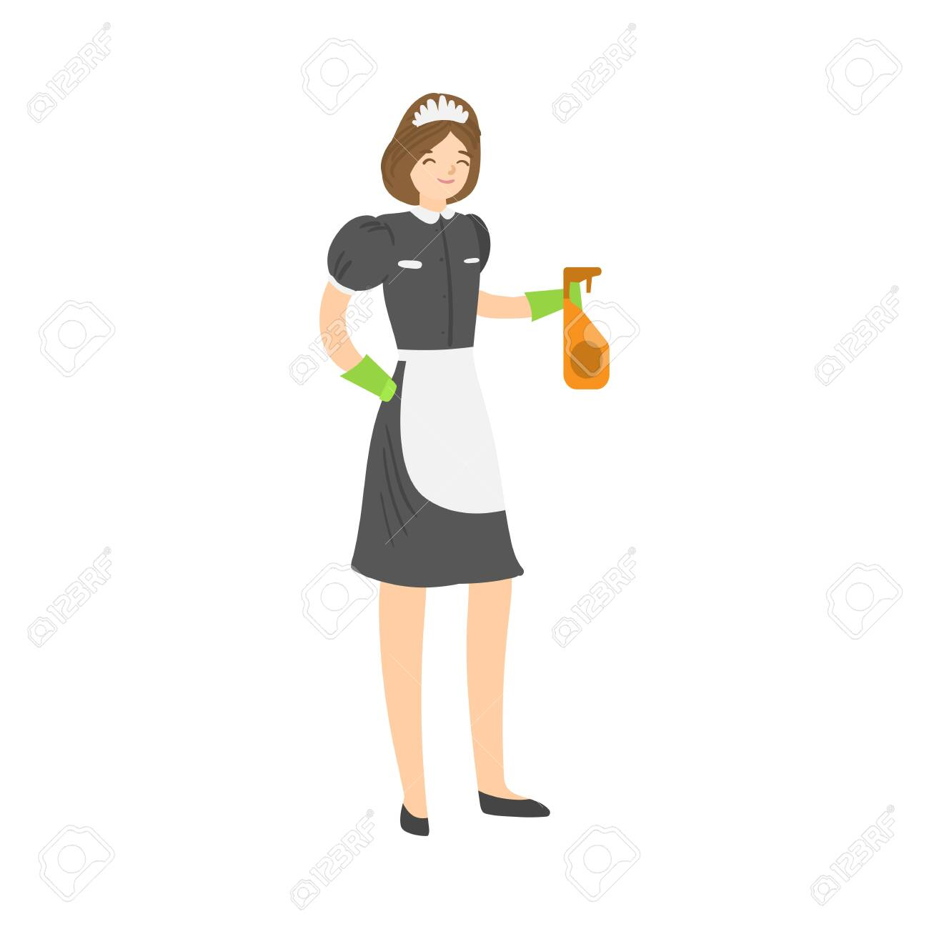 Brown-haired smiling housemaid posing with a squirting spray bottle. Vector illustration in flat cartoon style. - 142848085