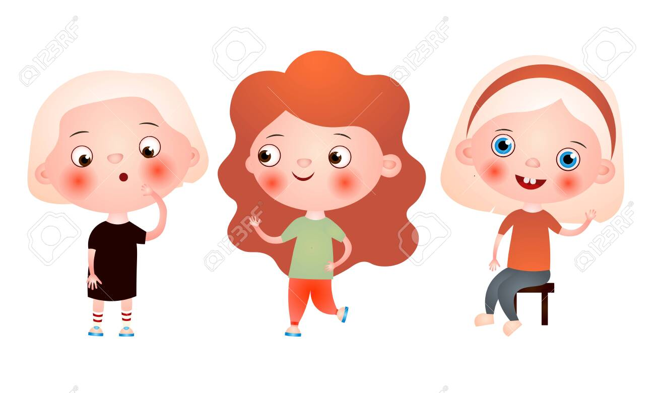 Set of funny cute little girls spending free time having fun and playing. Vector illustration in a flat cartoon style. - 144048349