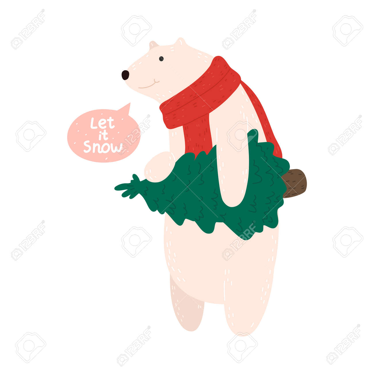 Happy white polar bear in Christmas comfortable cozy red scarf carrying christmas tree - 163506804