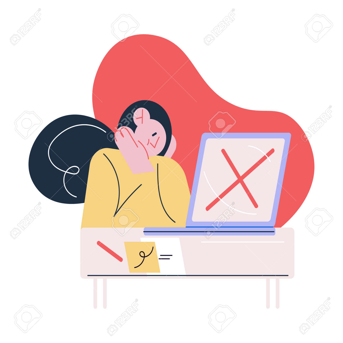Woman applicant sitting near laptop and suffering from getting vacancy refusal - 166188947