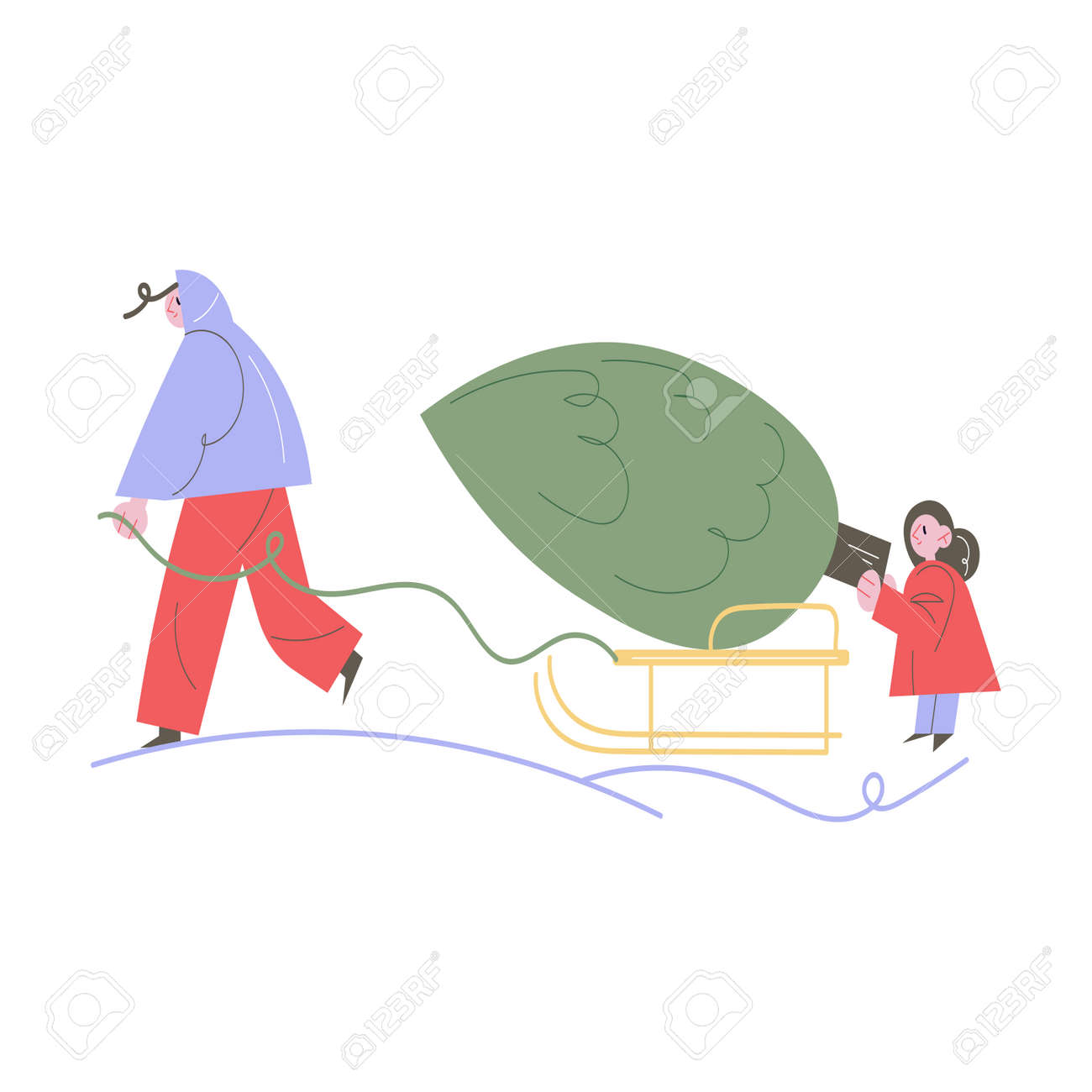 Happy woman and daughter carrying Christmas tree on sliders to home - 162069954