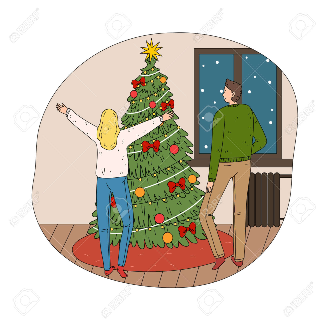 Young happy couple feeling excited near decorated Christmas tree at home - 162069956