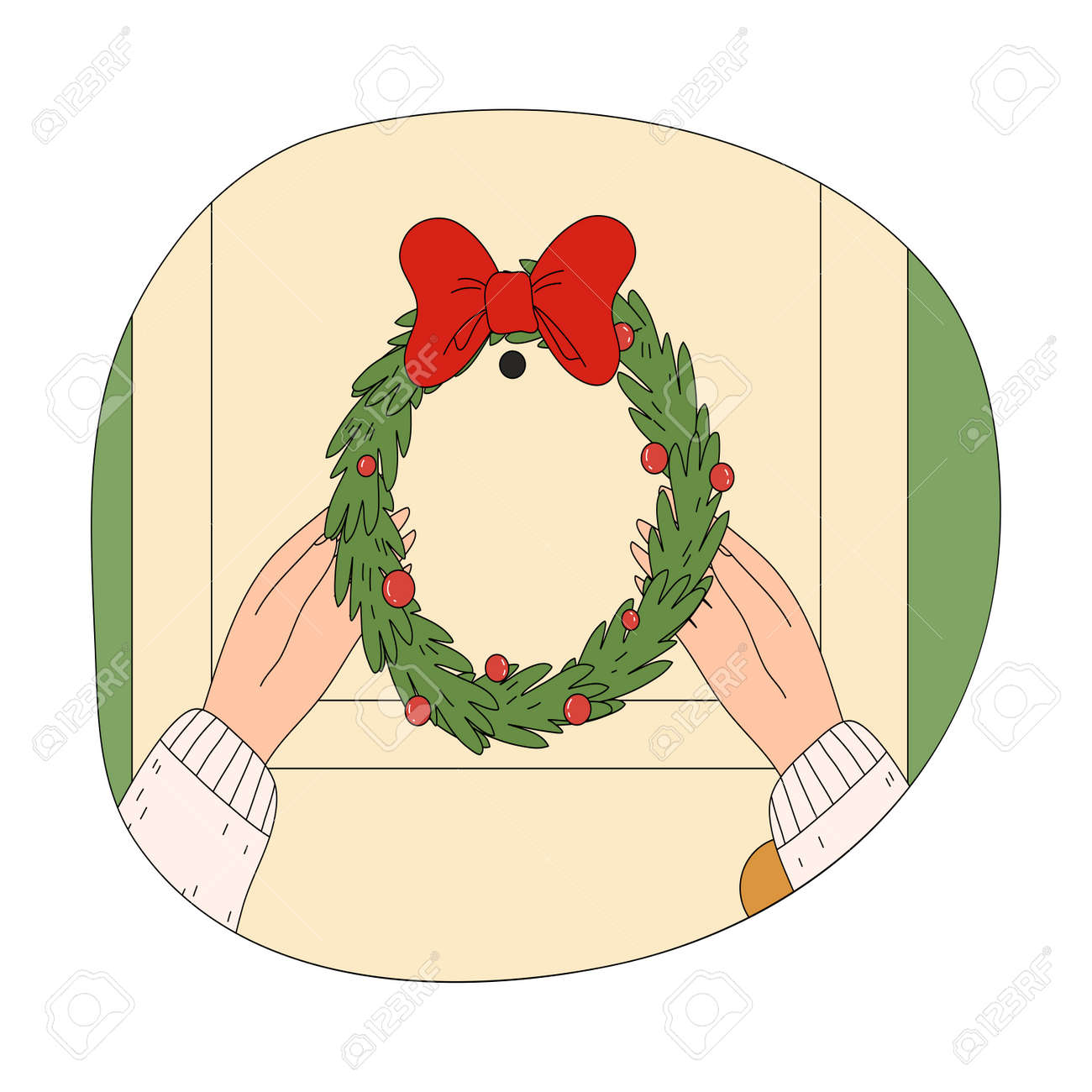 Human hands putting hanging ornate wreath on door during Christmas celebration - 162069960