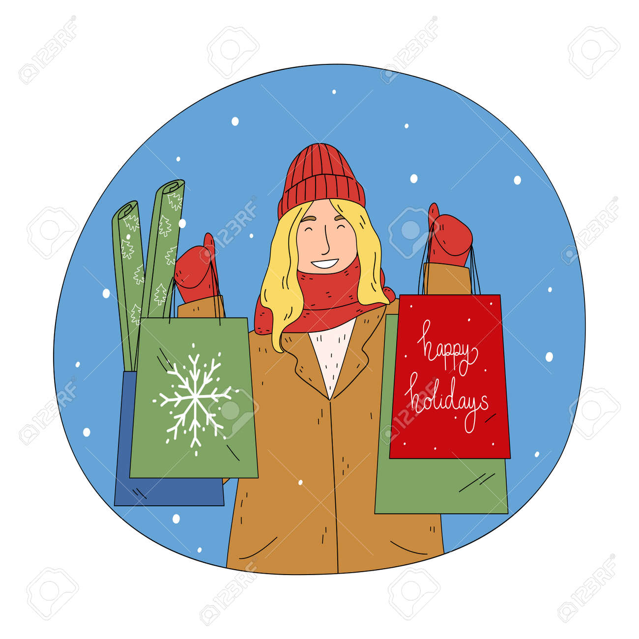 Young happy woman holding shopping bags with food and presents - 162069957
