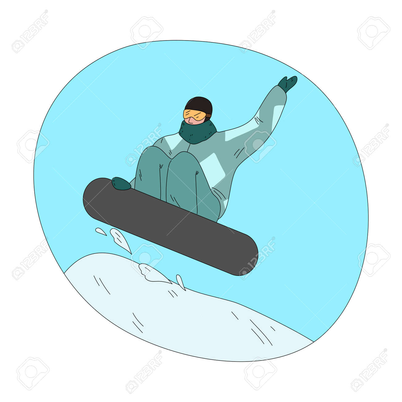 Man in dark green winter sportswear and mask jumping and practicing snowboarding - 162069963
