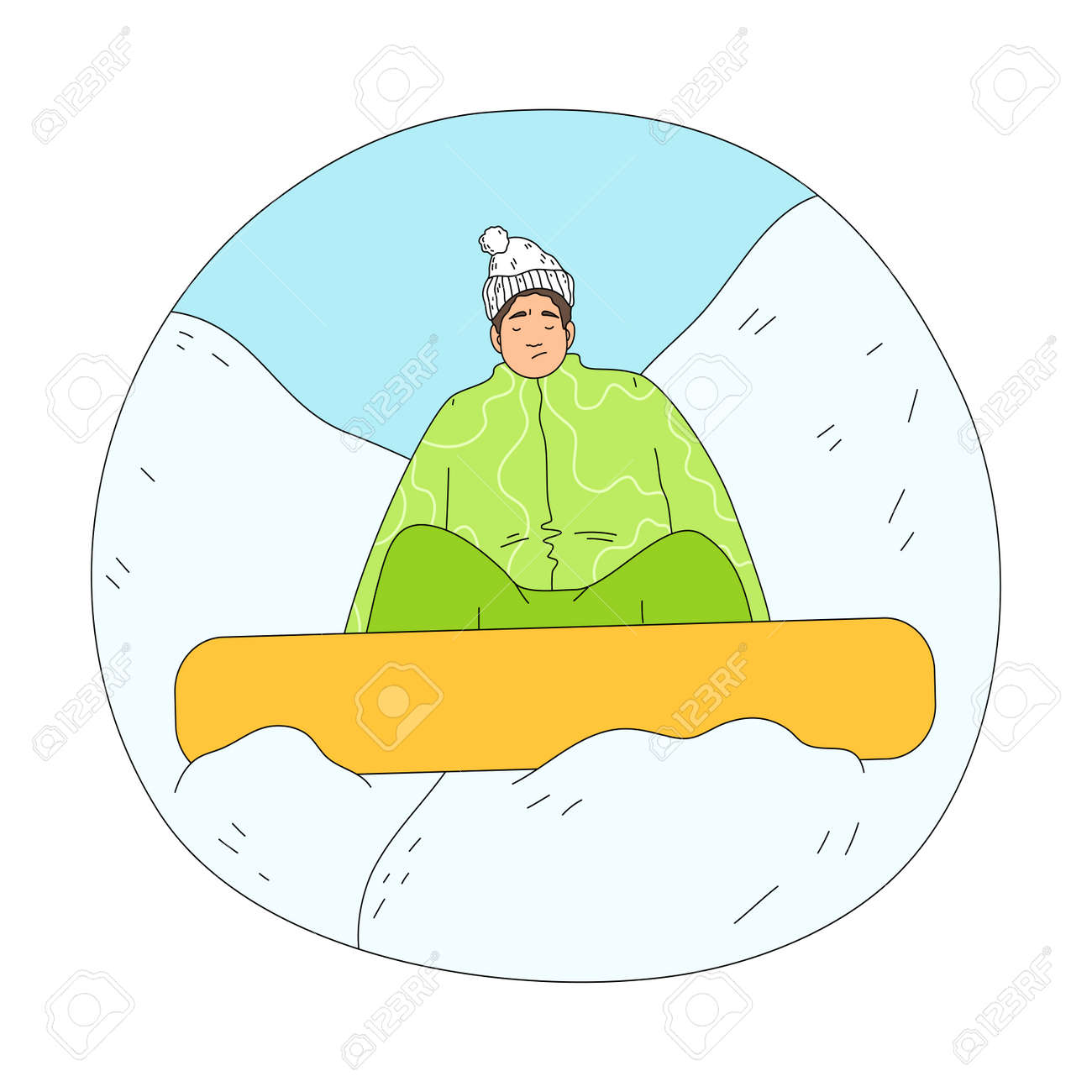 Man in green winter sportswear falling during practicing snowboarding - 162070068