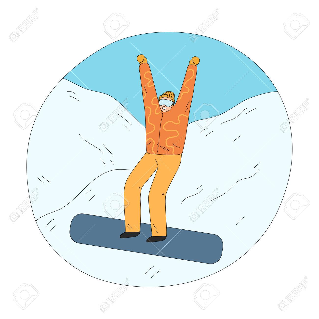 Man in orange winter sportswear feeling cheerful downhill during snowboarding - 162070067