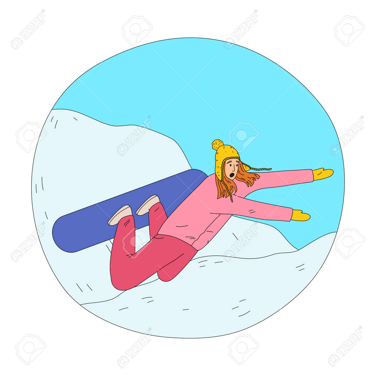 Frustrated woman in pink winter sportswear falling during practicing snowboarding - 162070070
