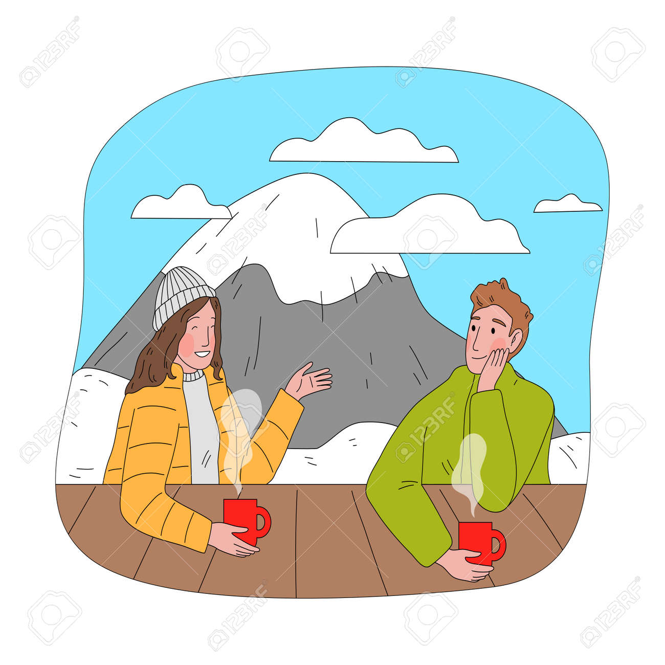 Happy couple sitting drinking hot tea and chatting after practicing snowboarding - 162070074
