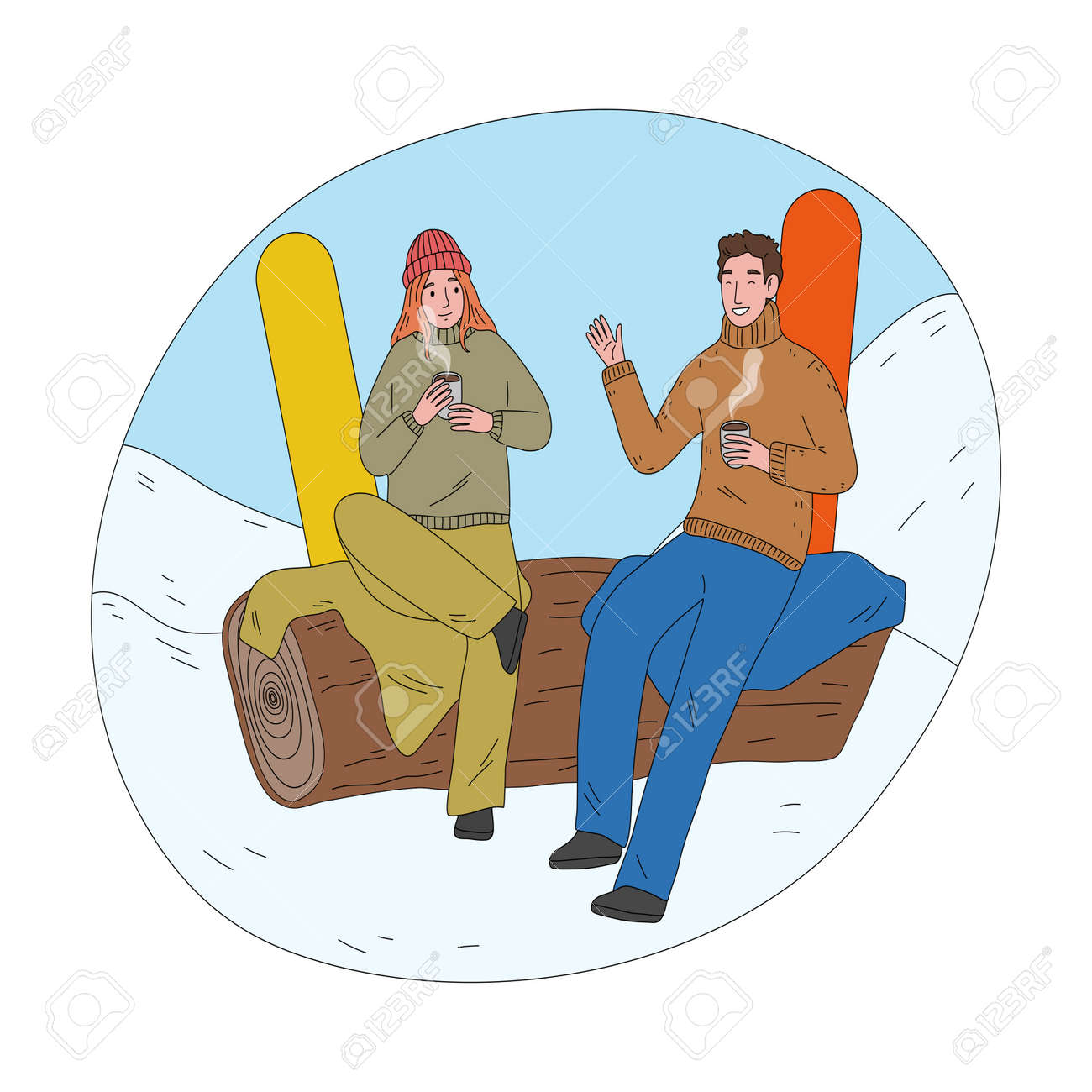 Happy couple sitting and drinking hot tea after successful practicing snowboarding - 162070081