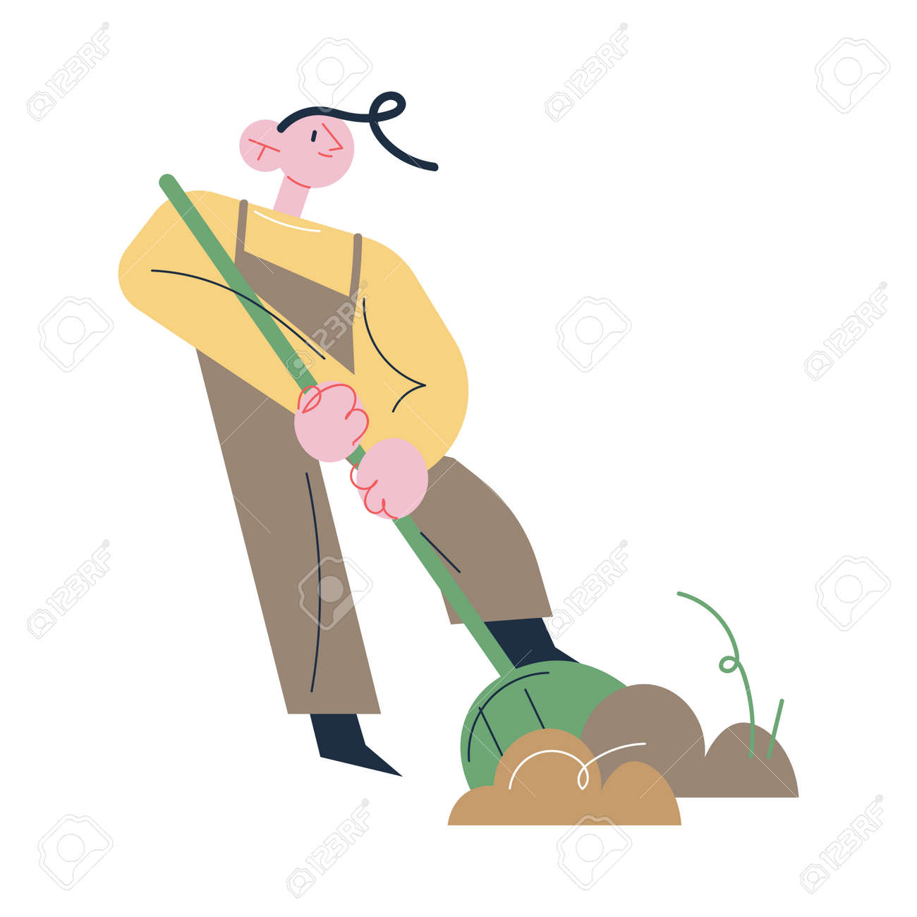 Man gardener in working clothes digging ground with showel - 164873977
