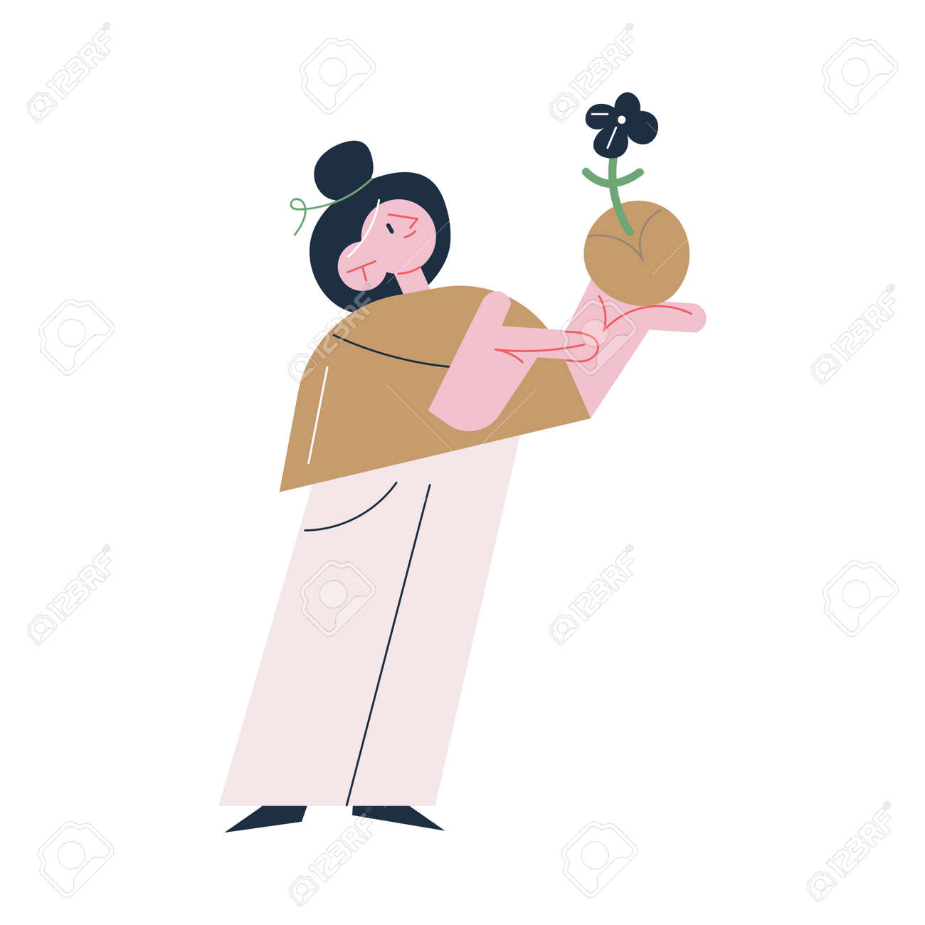 Young happy woman gardener standing holding plant in soil - 164873981