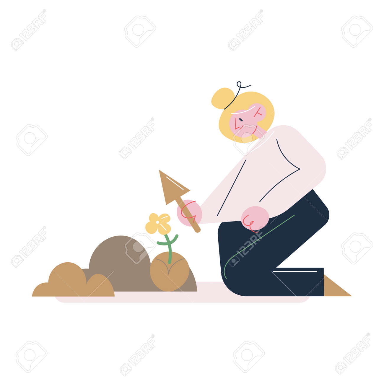 Woman gardener sitting on knees and taking care of soil for putting seedlings - 164873985