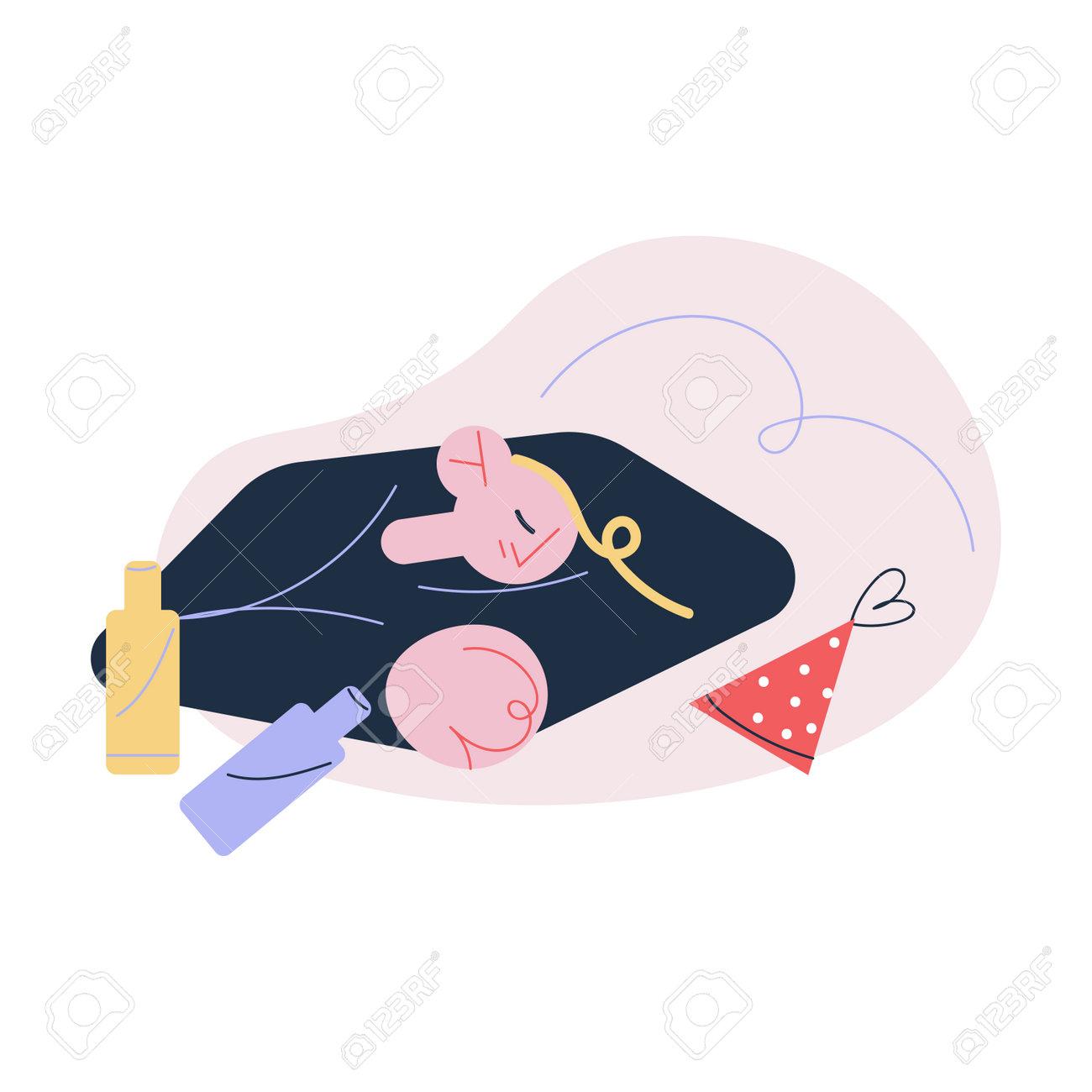 Young man sleeping on floor between bottles suffering from hangover - 163439953