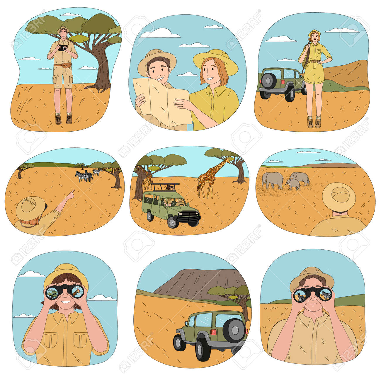 People tourists travelers riding african safari and watching sightseings - 164876700