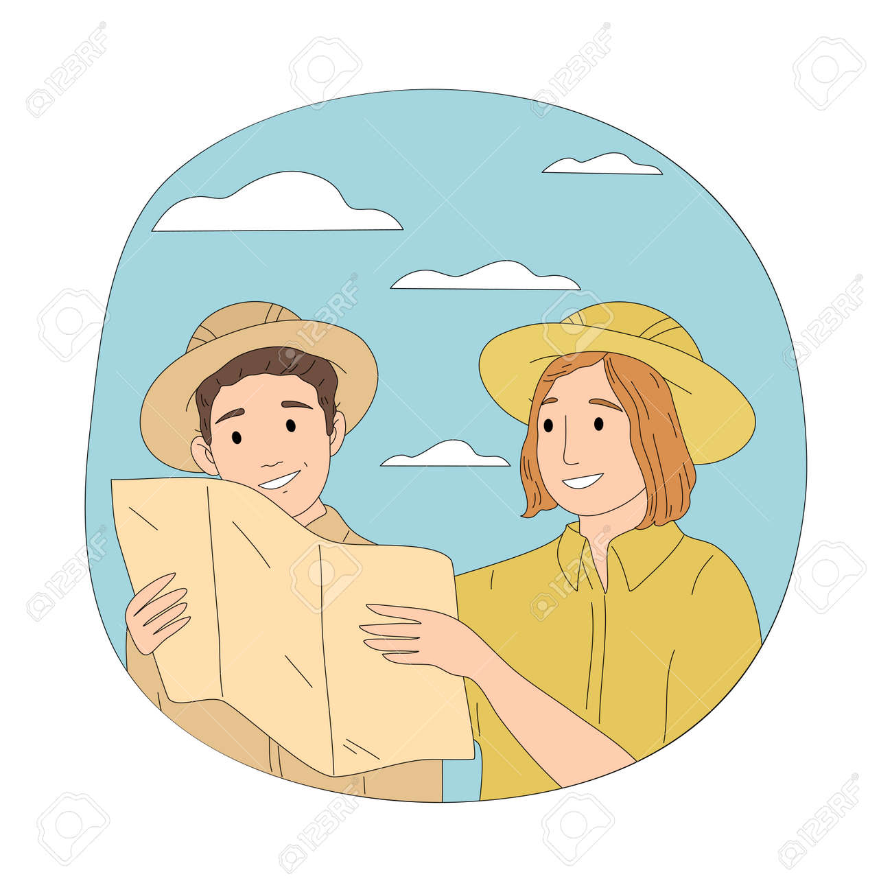 Couple tourists travelers in hats looking at map during safari trip - 164877062