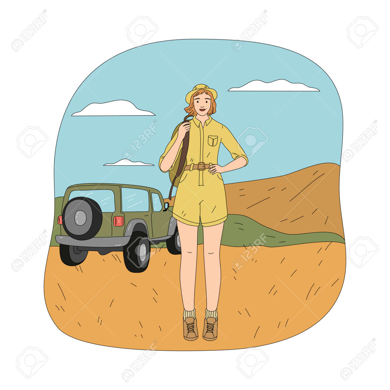 Young happy woman standing over car vehicle during safari trip - 164877063