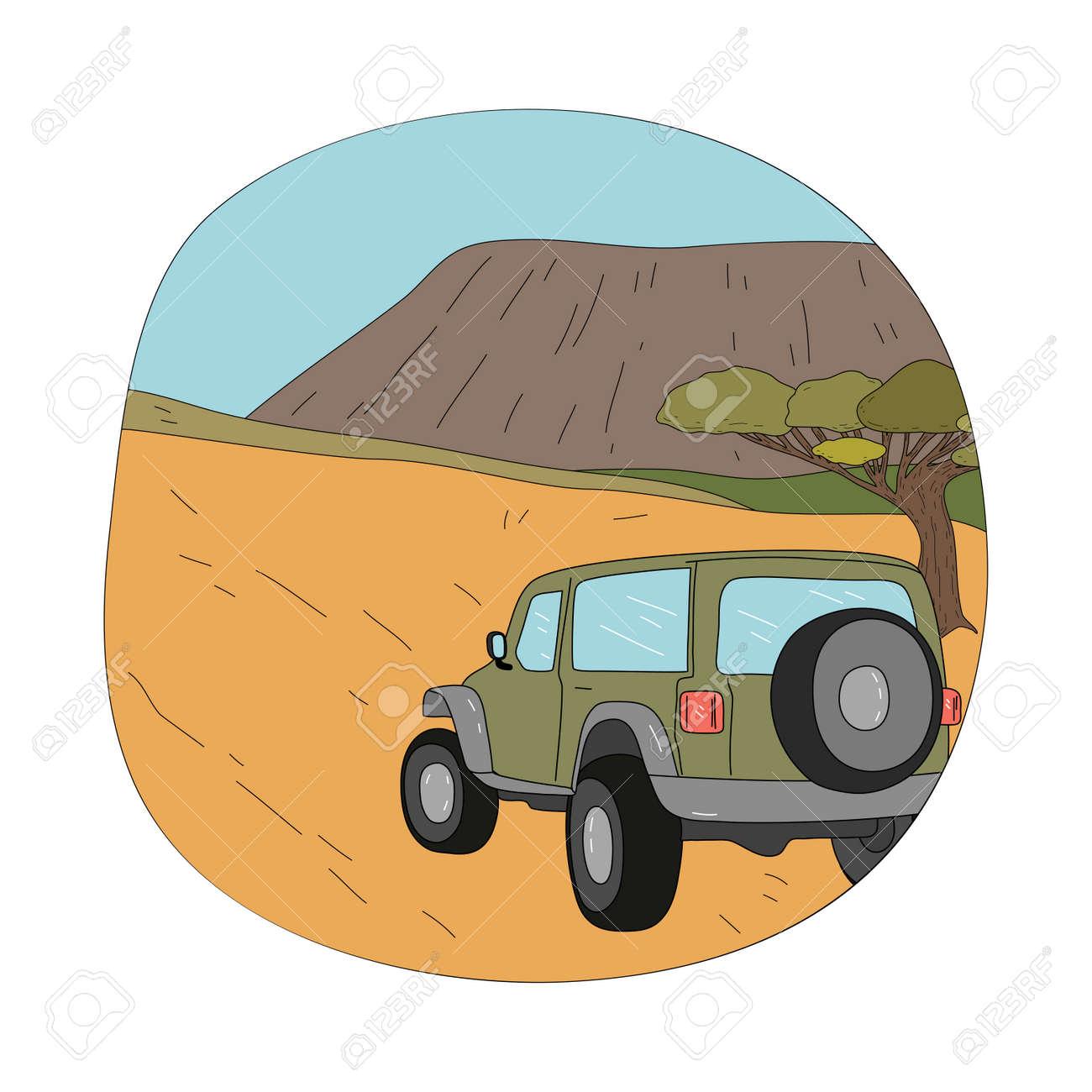 People travelers tourists riding on safari tour in car - 164877068