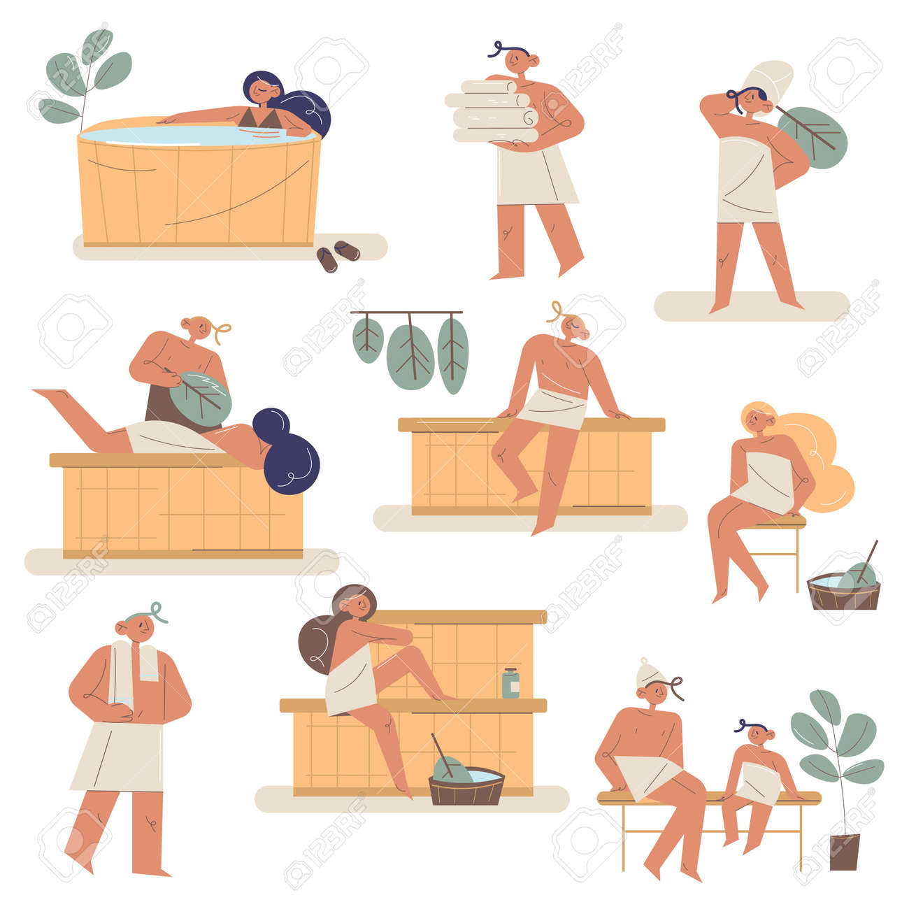 Set of people and families enjoying bath and sauna in towels with brooms - 164938480