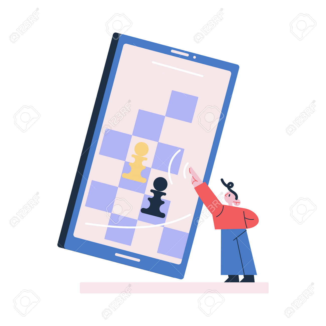Young boy standing playing chess online on huge tablet - 164877205