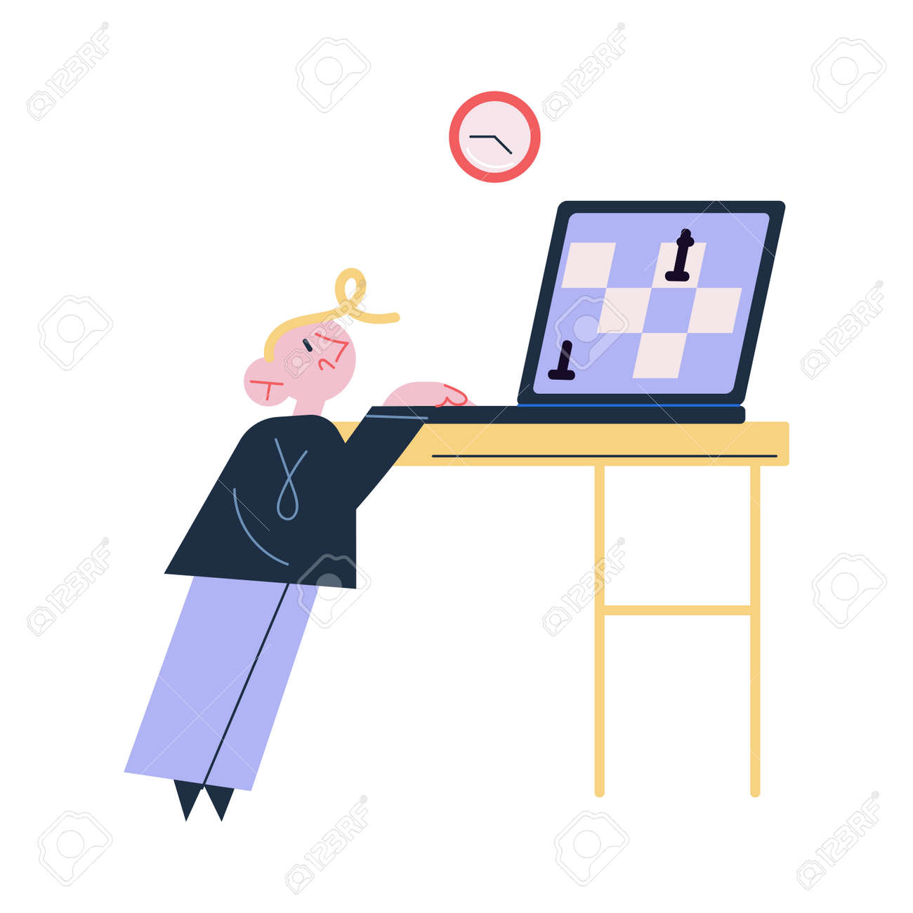 Small boy child standing and playing chess online on laptop on table - 164877211