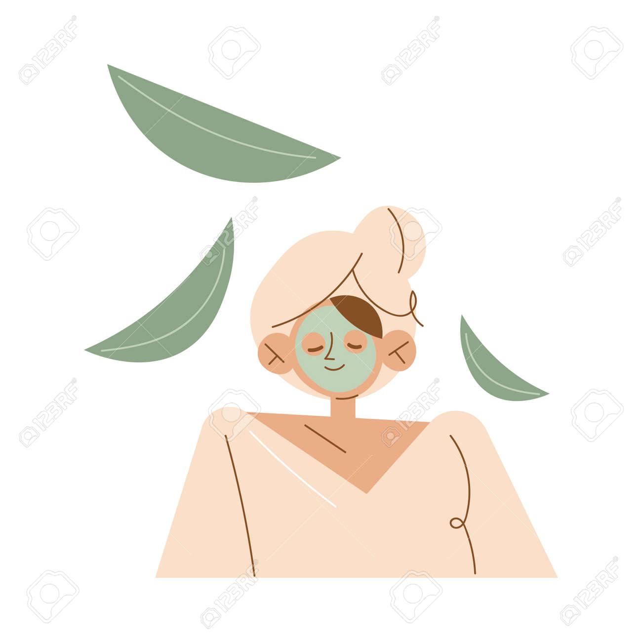 Smiling young caucasian woman enjoying green organic face mask in spa - 164904030