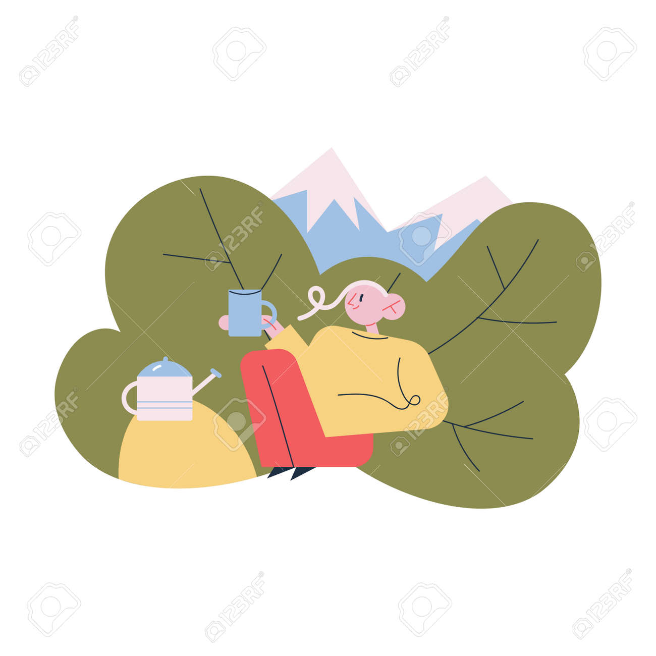 Tourist sitting relaxing enjoying cup of hot tea or coffee during traveling in mountains - 164904039