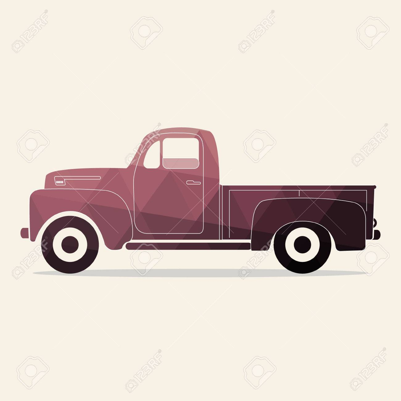 Classic Pickup Truck. Polygonal Styled Vector Illustration. Retro ...