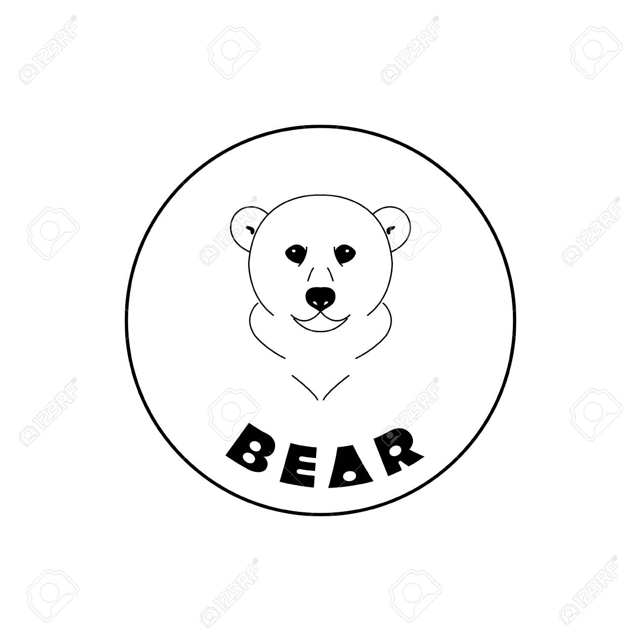 Simple Bear Face Mascot Emblem Symbols Can Be Used For T Shirts Print