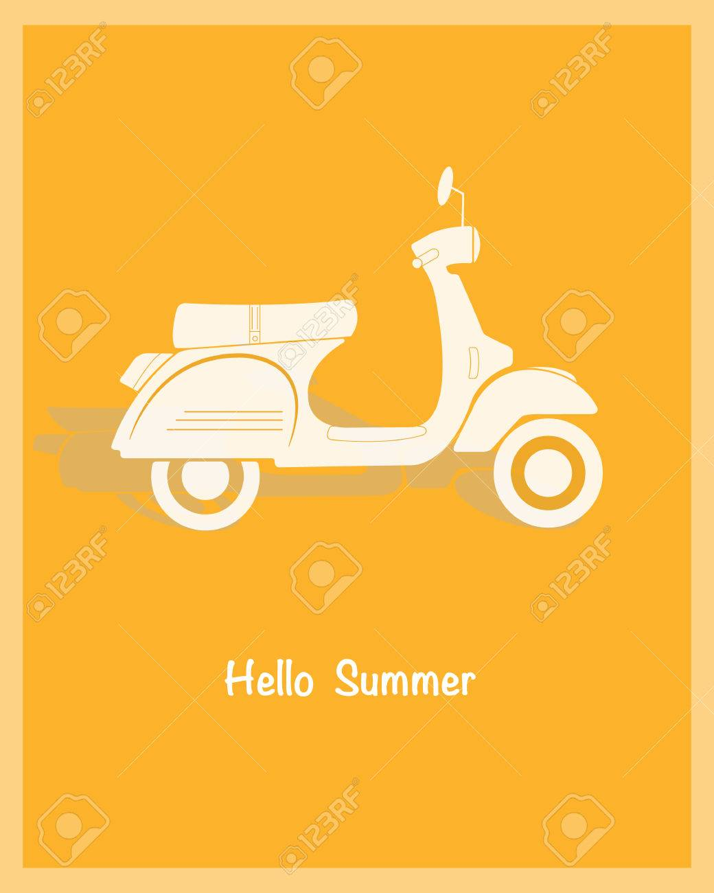 Retro Poster Design With Vintage Scooter Illustration Sample Royalty Free Cliparts Vectors And Stock Illustration Image 63024680