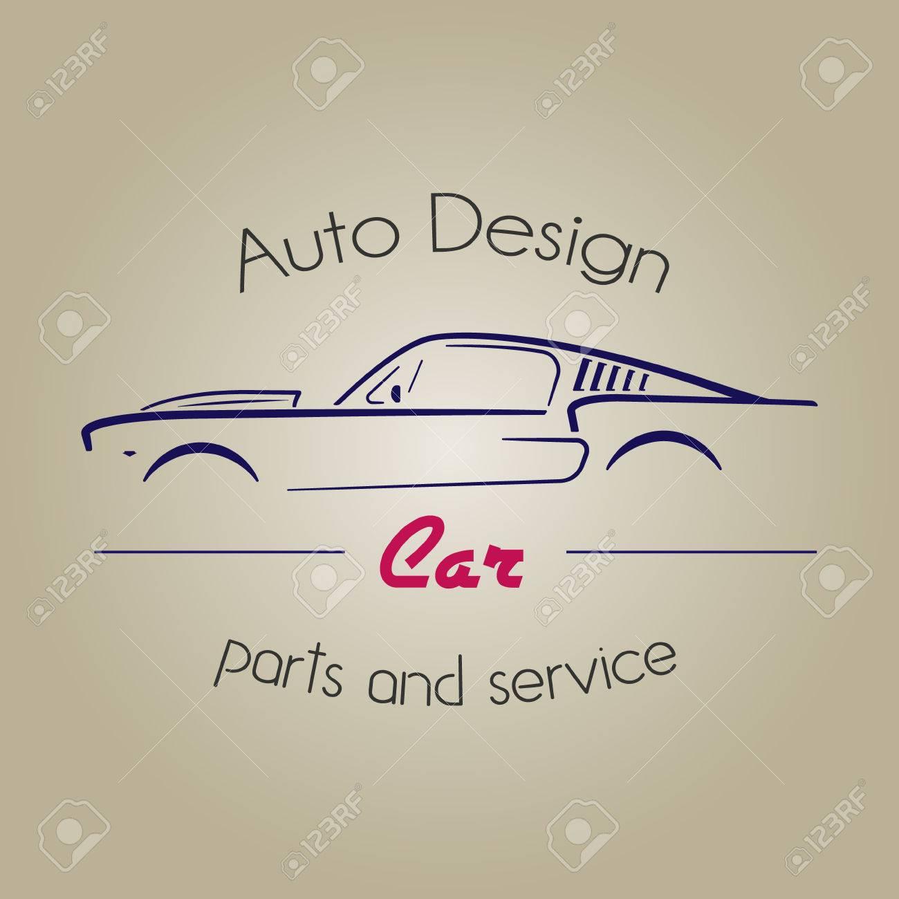 Retro Silhouette Car Element Logo. Vintage Car Logotype. Auto ...