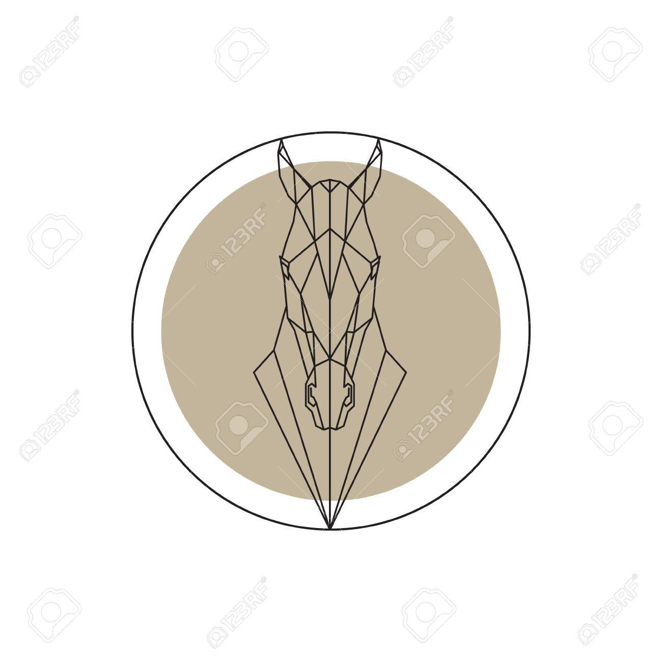 Horse Head Geometric Silhouette Isolated Design Element Illustration Royalty Free Cliparts Vectors And Stock Illustration Image 63383166