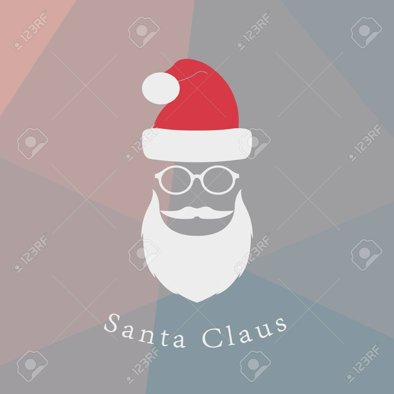 01bdb81f362 Vector - Vector hipster Santa Claus fashion silhouette with cool beard and  glasses