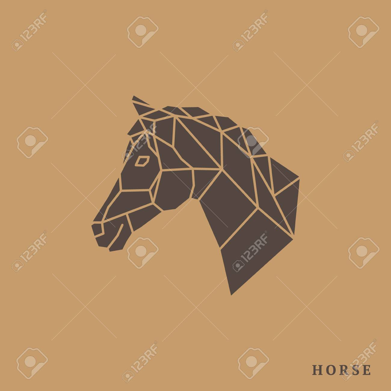 Horse Head Geometric Lines Silhouette Isolated On Light Brown Royalty Free Cliparts Vectors And Stock Illustration Image 66694326