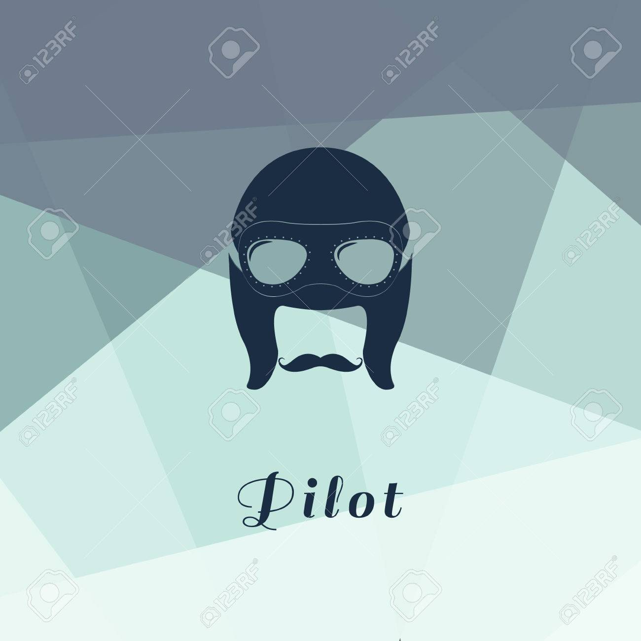 cd7b2a0fd7 Vector - Vector illustration of retro male character. A head of pilot with  mustache